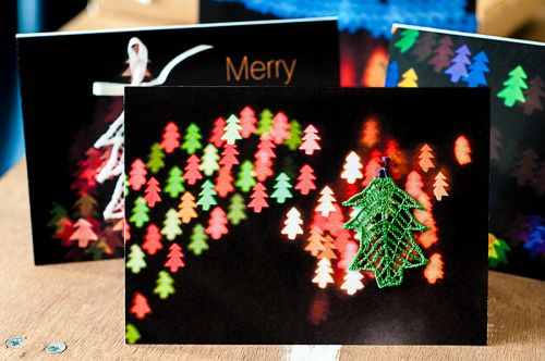 Christmas bokeh cards with lace tree ornament x6