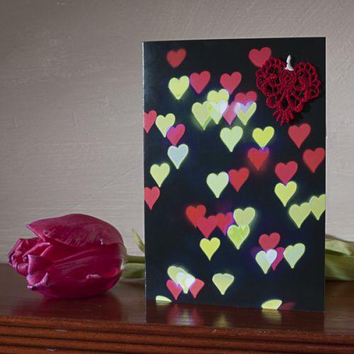 Bokeh & Lace Love Hearts Card